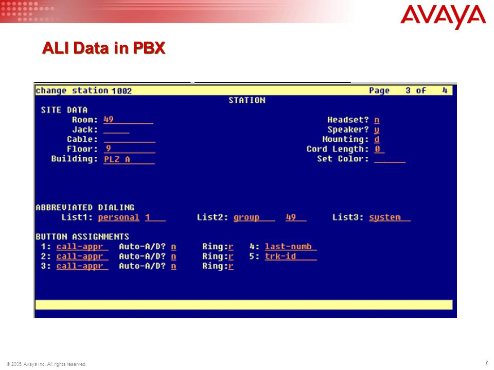 7 © 2005 Avaya Inc. All rights reserved. ALI Data in PBX