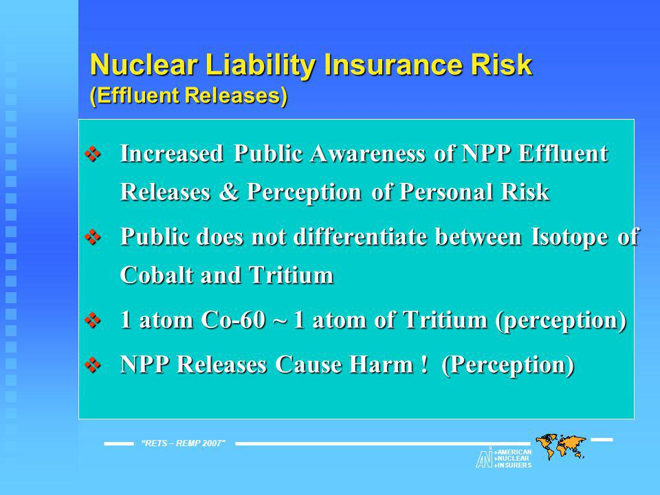 Nuclear Liability Insurance Risk  Recent Global Risk Management Experience – Compliance with Applicable Jurisdictional Regulations does not always offer protection from future environmental liabilities  Facilities Can Mitigate Excessive Claims Defense Costs Through Evidence of Due Care and Proper Operation RETS – REMP 2007  AMERICAN  NUCLEAR  INSURERS