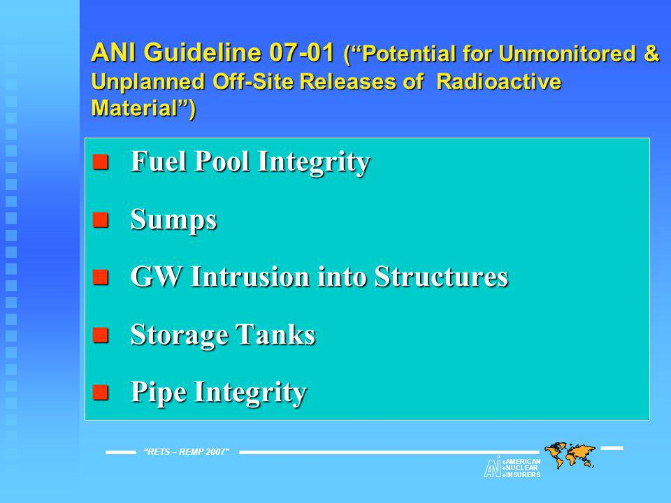 Drinking Water Drinking Water Storm Drains Storm Drains Settling Ponds Settling Ponds Sanitary Sewage Sanitary Sewage On-Site Landfills On-Site Landfills Ground Water Monitoring Program Ground Water Monitoring Program RETS – REMP 2007  AMERICAN  NUCLEAR  INSURERS ANI Guideline 07-01