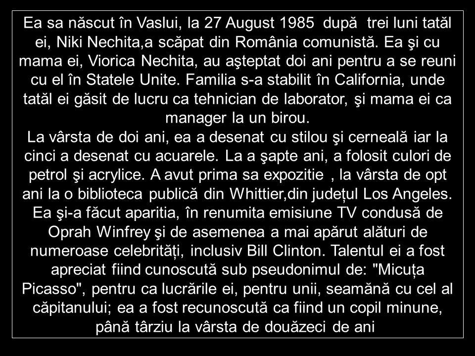 Ea sa născut în Vaslui, la 27 August 1985 după trei luni tatăl ei, Niki Nechita,a scăpat din România comunistă.