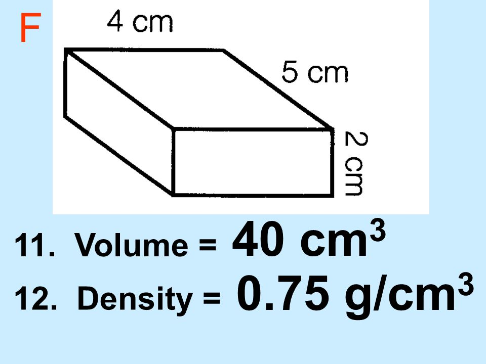 F 11. Volume = 12. Density = 40 cm 3 0.75 g/cm 3