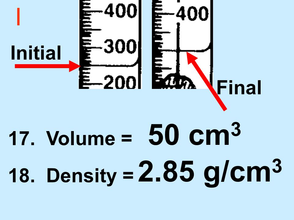 I 17. Volume = 18. Density = 50 cm 3 2.85 g/cm 3 Initial Final