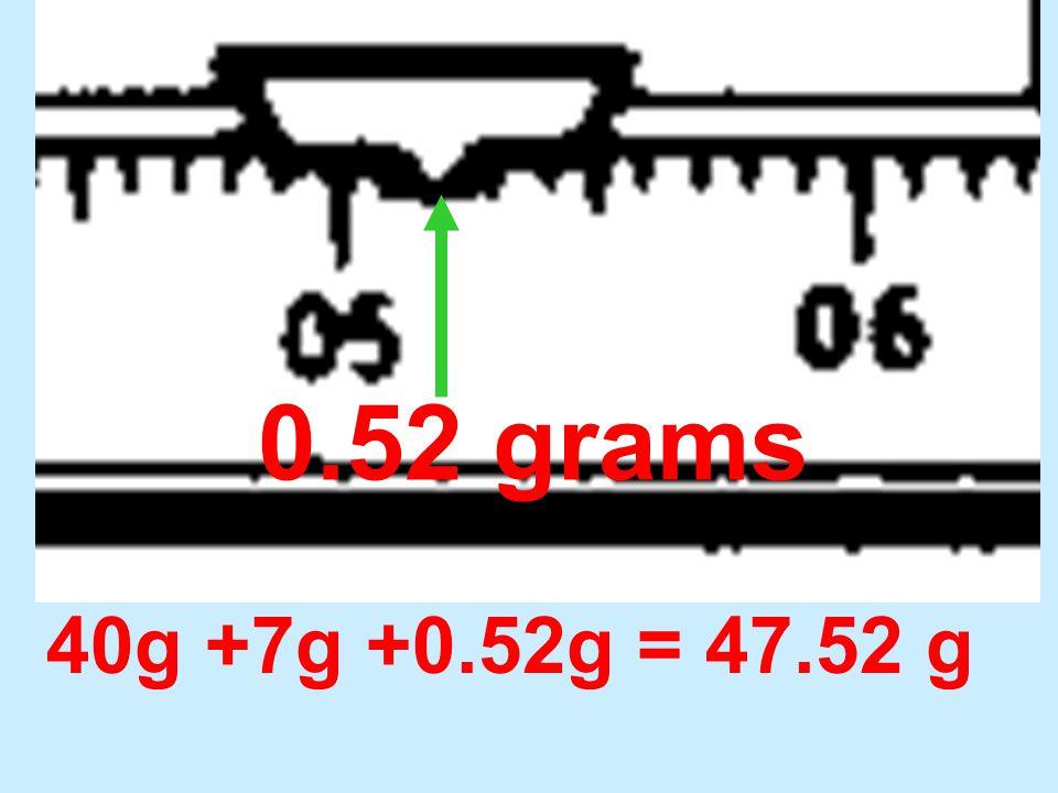 0.52 grams 40g +7g +0.52g = 47.52 g