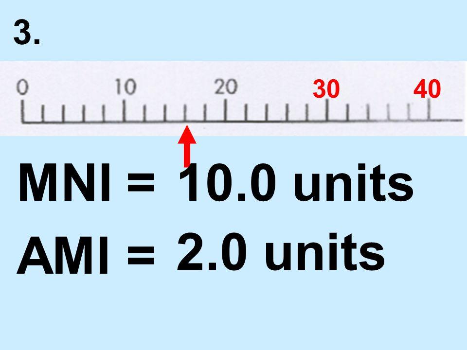 3. 3040 MNI = AMI = 10.0 units 2.0 units
