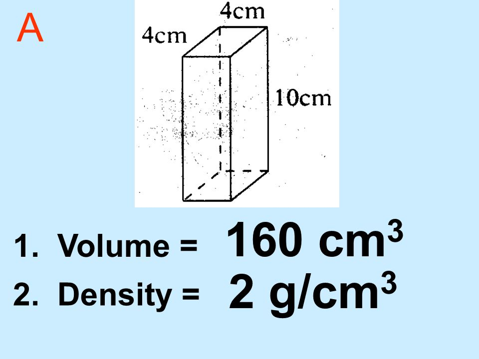 A 1. Volume = 2. Density = 2 g/cm 3 160 cm 3