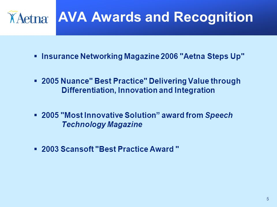 5 AVA Awards and Recognition  Insurance Networking Magazine 2006 Aetna Steps Up  2005 Nuance Best Practice Delivering Value through Differentiation, Innovation and Integration  2005 Most Innovative Solution award from Speech Technology Magazine  2003 Scansoft Best Practice Award