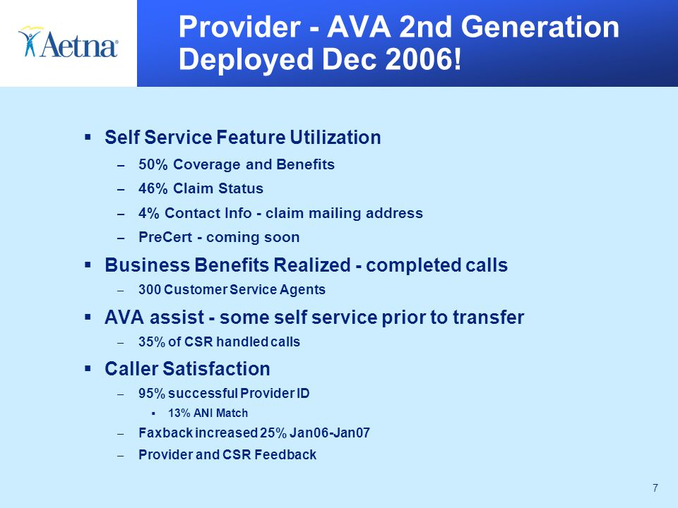 7 Provider - AVA 2nd Generation Deployed Dec 2006.