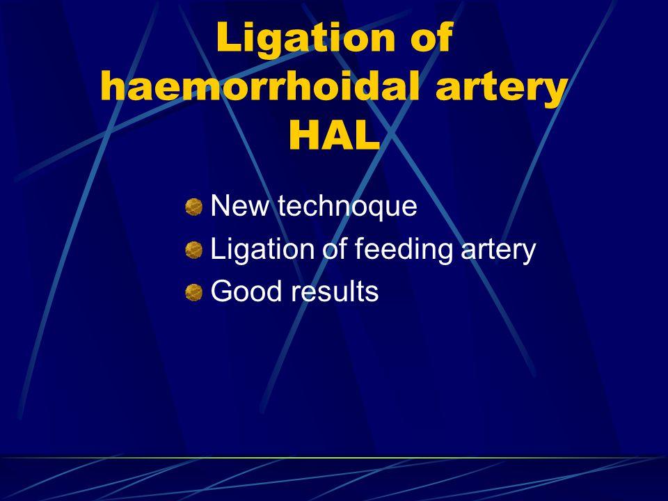 Ligation of haemorrhoidal artery HAL New technoque Ligation of feeding artery Good results