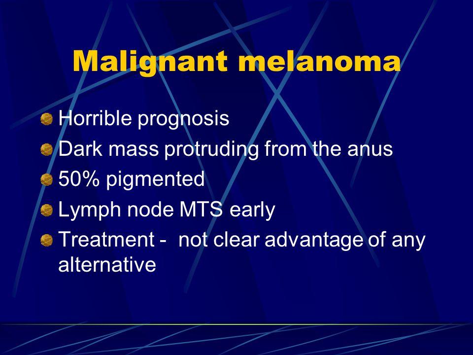 Malignant melanoma Horrible prognosis Dark mass protruding from the anus 50% pigmented Lymph node MTS early Treatment - not clear advantage of any alternative