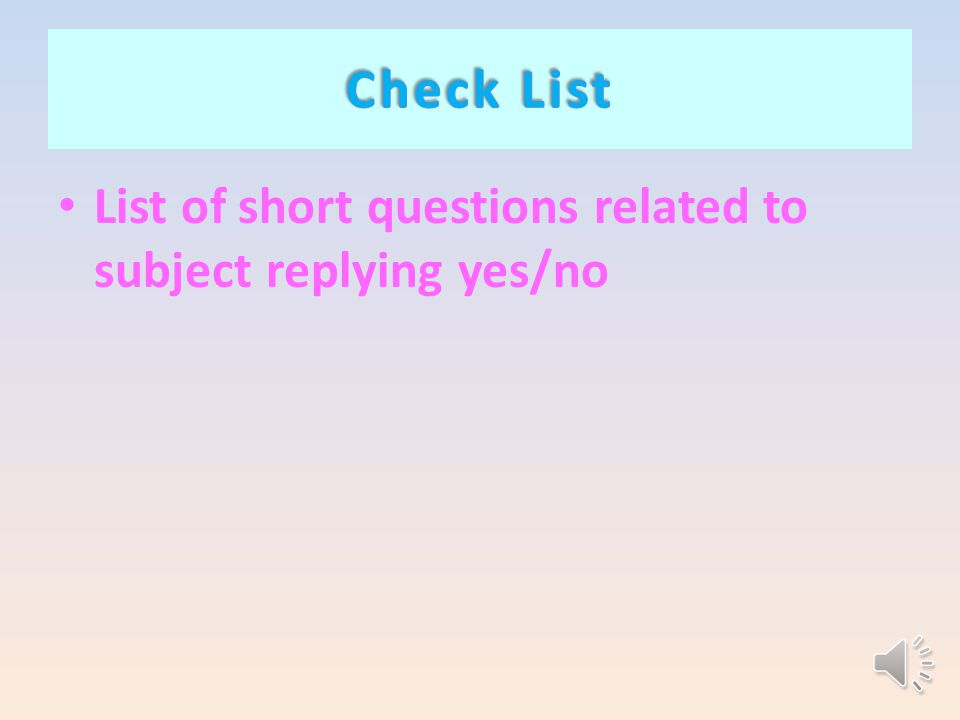 List of short questions related to subject replying yes/no