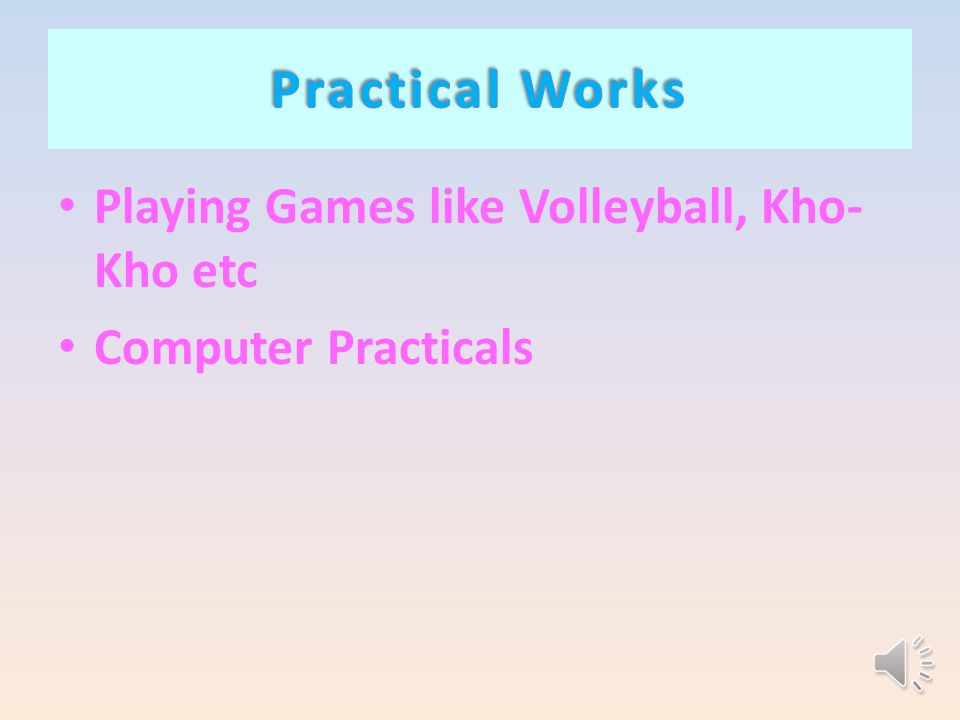 Playing Games like Volleyball, Kho- Kho etc Computer Practicals