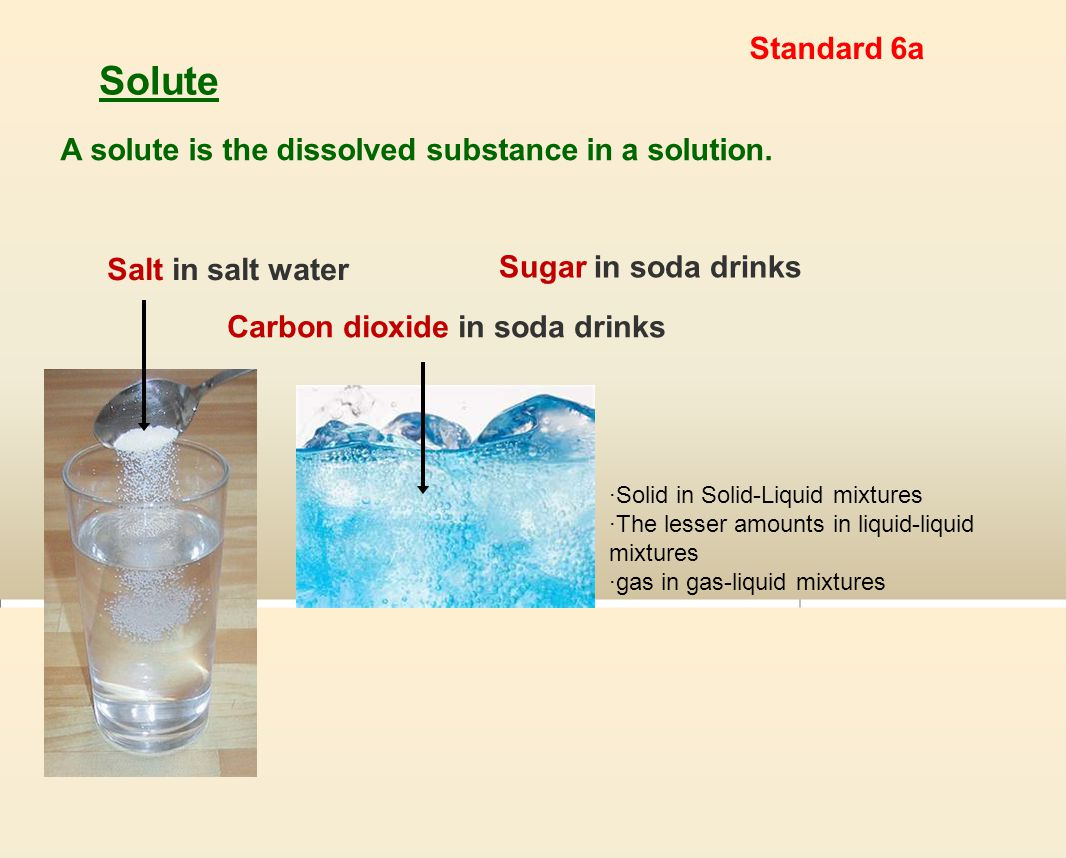 Solute A solute is the dissolved substance in a solution.