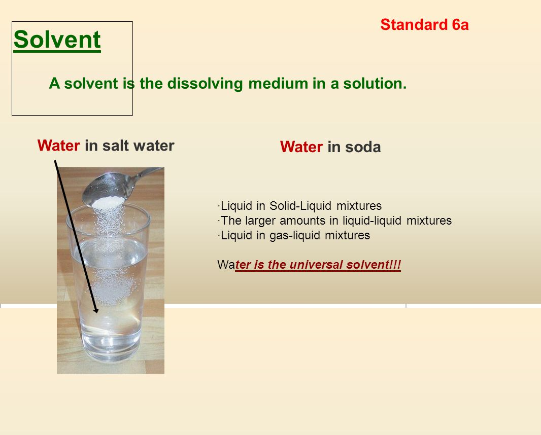 A solvent is the dissolving medium in a solution.