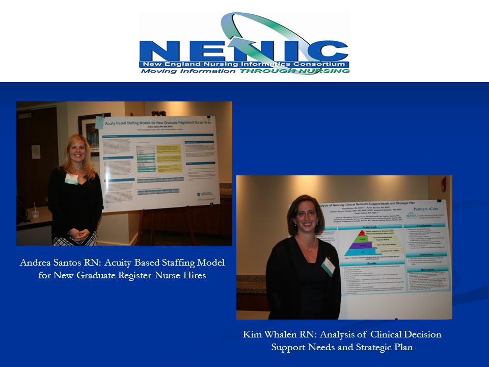 Kim Whalen RN: Analysis of Clinical Decision Support Needs and Strategic Plan Andrea Santos RN: Acuity Based Staffing Model for New Graduate Register