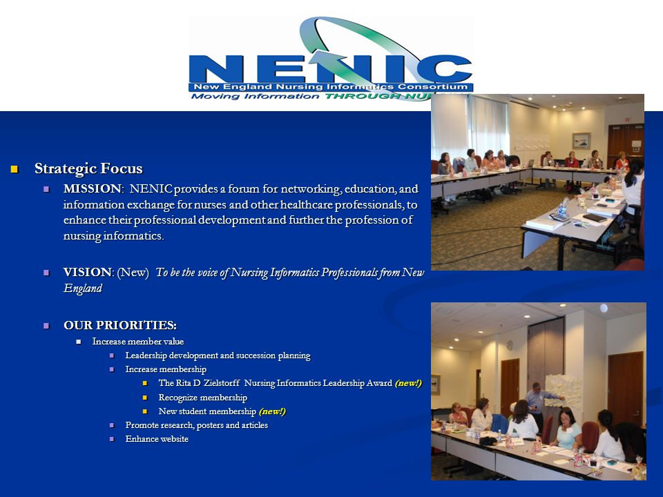 Networking, Education and Communication Networking, Education and Communication May 2013 May 2013 Trends in Clinical Informatics: A Nursing Perspective Trends in Clinical Informatics: A Nursing Perspective http://www.nenic.org/past-annual-symposiums October 2013 October 2013 Wanted Emerging Authors Wanted Emerging Authors https://nenic.memberclicks.net/assets/dykes_writing%20a%20scientific%20abstract_slides.pdf November 2013 November 2013 HIMSS NI Institute (2 nd annual);Partnership with HIMSS, BCH and ONL HIMSS NI Institute (2 nd annual);Partnership with HIMSS, BCH and ONL March 18, 2014 March 18, 2014 Using Simulation to Educate Interprofessional Teams in Oral- Systemic Health.