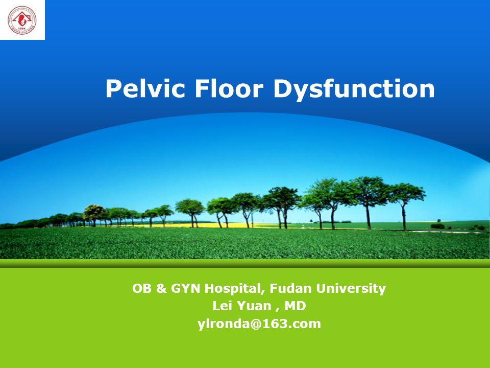 Pelvic Floor Dysfunction OB & GYN Hospital, Fudan University Lei Yuan, MD ylronda@163.com