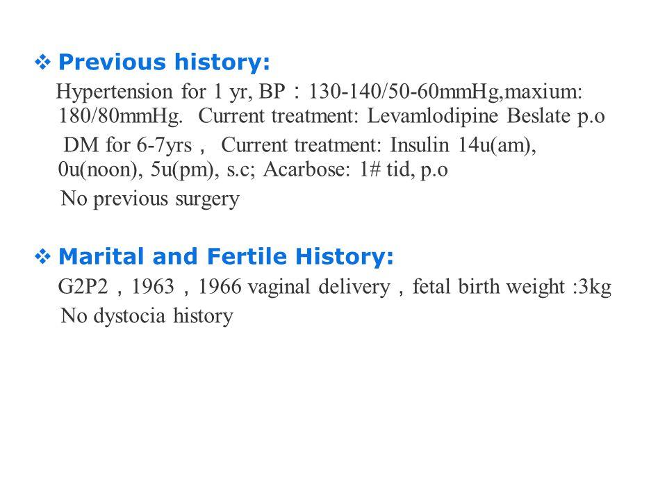 版权所 有  Previous history: Hypertension for 1 yr, BP : 130-140/50-60mmHg,maxium: 180/80mmHg. Current treatment: Levamlodipine Beslate p.o DM for 6-7yrs