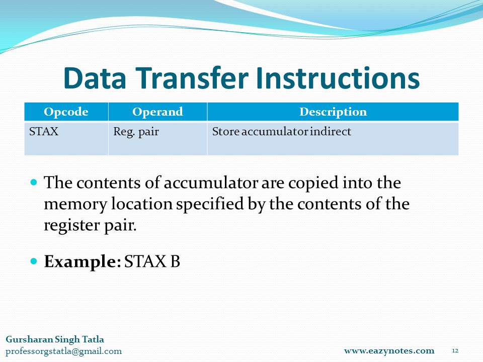 Data Transfer Instructions OpcodeOperandDescription STAXReg.