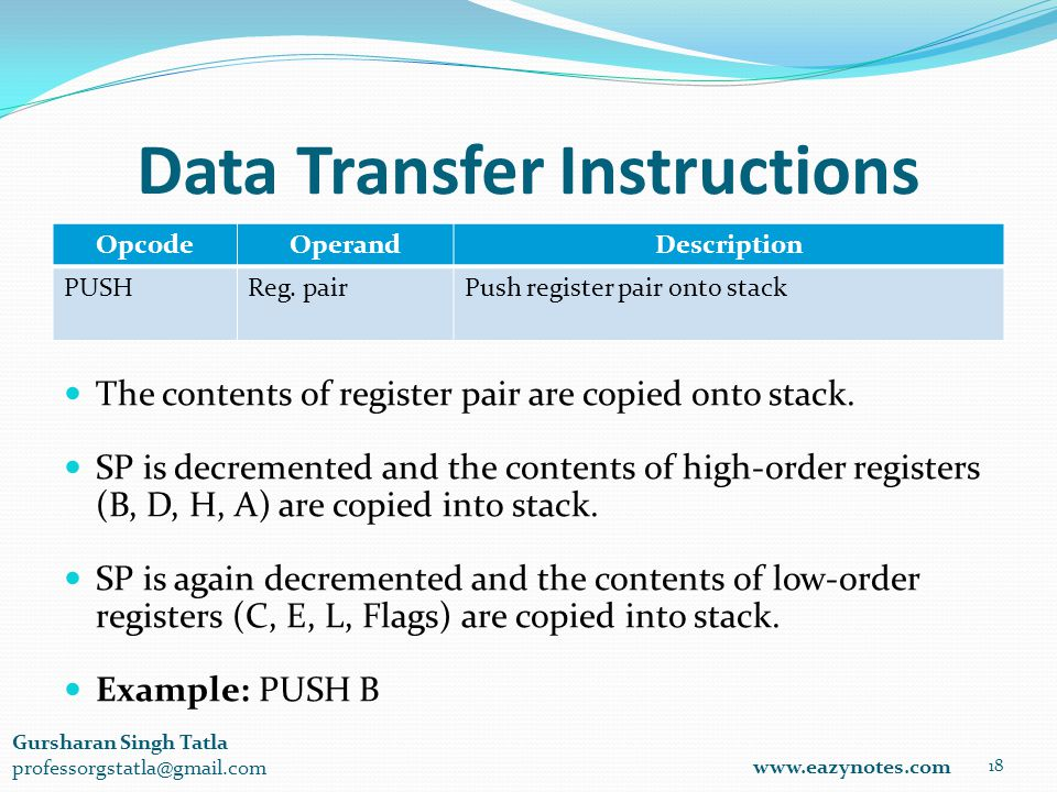 Data Transfer Instructions OpcodeOperandDescription PUSHReg.