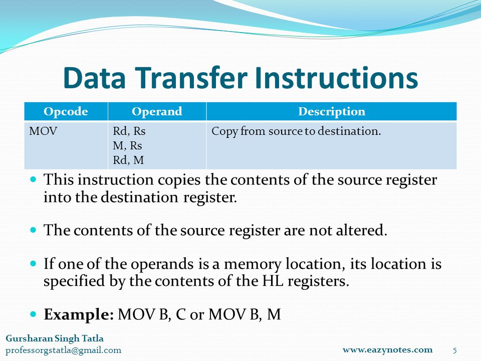 Data Transfer Instructions OpcodeOperandDescription MOVRd, Rs M, Rs Rd, M Copy from source to destination.