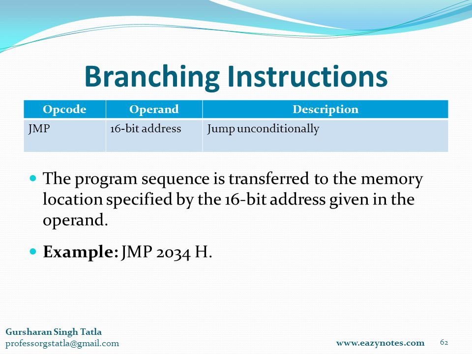 Branching Instructions OpcodeOperandDescription JMP16-bit addressJump unconditionally 62 www.eazynotes.com Gursharan Singh Tatla professorgstatla@gmail.com The program sequence is transferred to the memory location specified by the 16-bit address given in the operand.