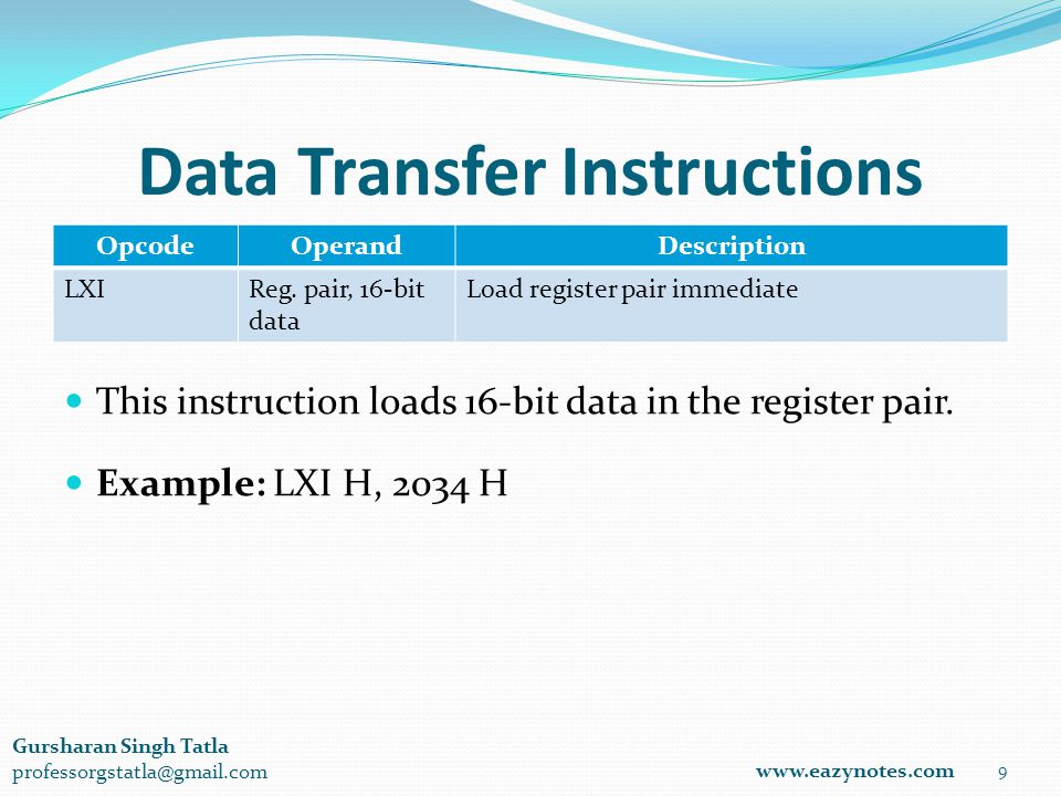 Data Transfer Instructions OpcodeOperandDescription LXIReg.