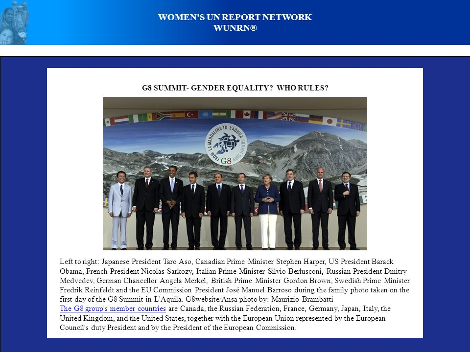 WOMEN'S UN REPORT NETWORK WUNRN® G8 SUMMIT- GENDER EQUALITY.