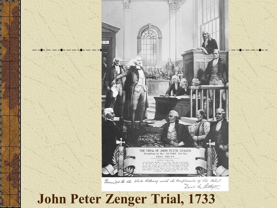 John Peter Zenger Trial, 1733