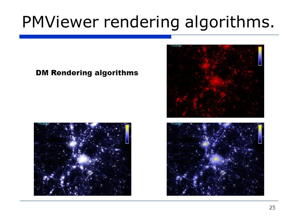 25 PMViewer rendering algorithms. DM Rendering algorithms