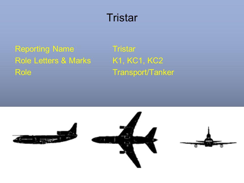 Tristar Reporting NameTristar Role Letters & MarksK1, KC1, KC2 RoleTransport/Tanker