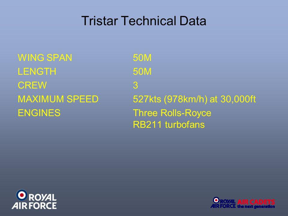 Tristar Technical Data WING SPAN 50M LENGTH 50M CREW 3 MAXIMUM SPEED527kts (978km/h) at 30,000ft ENGINES Three Rolls-Royce RB211 turbofans