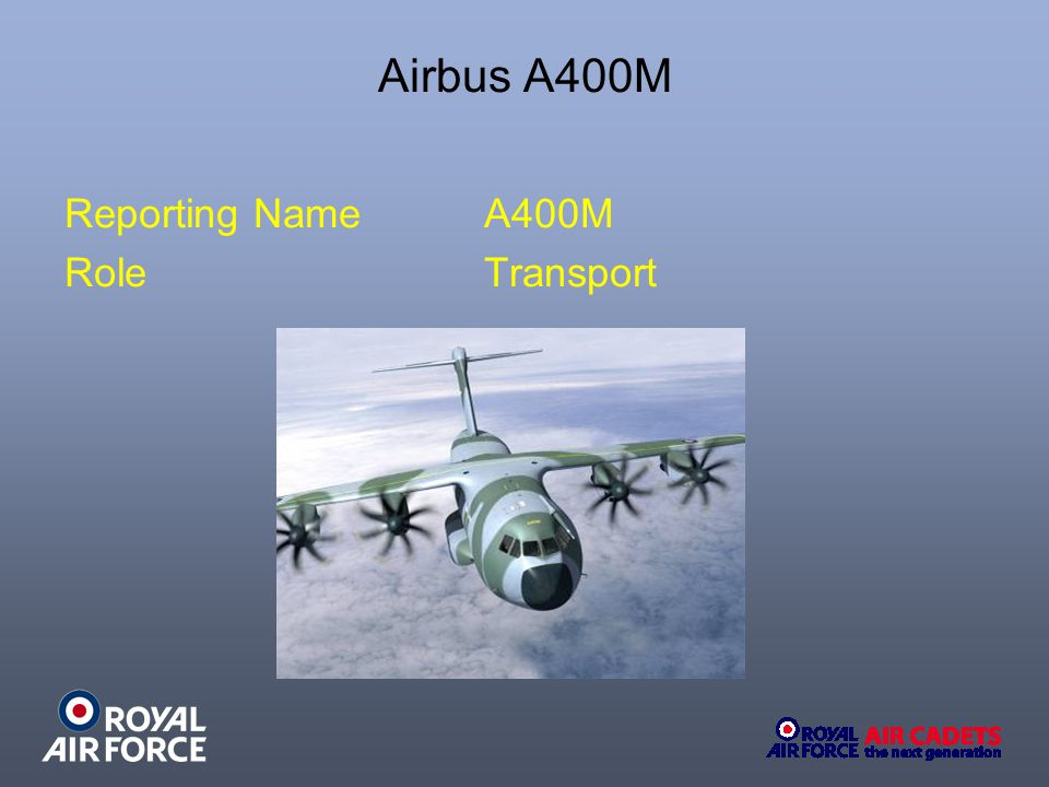 Airbus A400M Reporting NameA400M RoleTransport