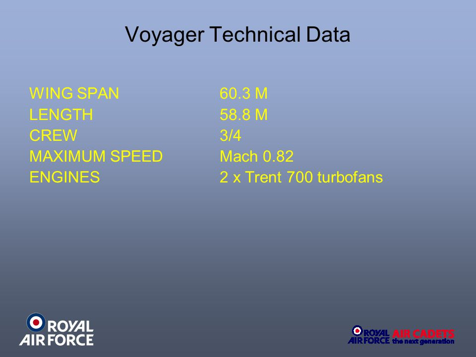 Voyager Technical Data WING SPAN 60.3 M LENGTH 58.8 M CREW 3/4 MAXIMUM SPEED Mach 0.82 ENGINES 2 x Trent 700 turbofans