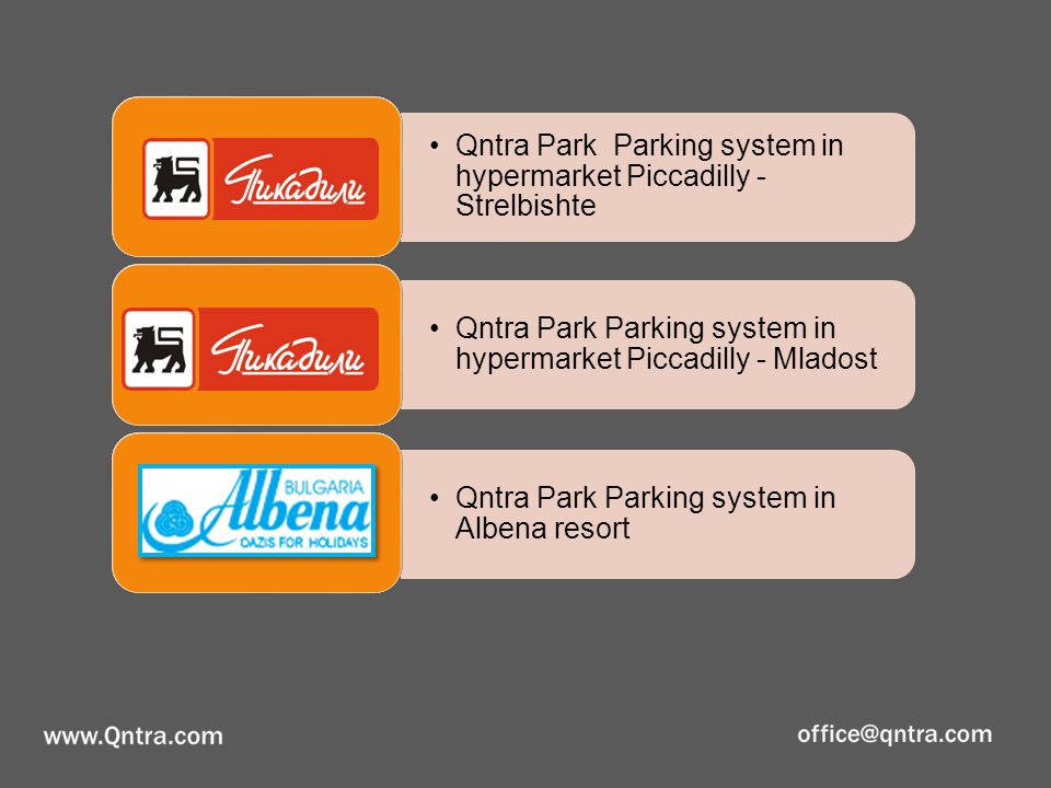 Qntra Park Parking system in hypermarket Piccadilly - Strelbishte Qntra Park Parking system in hypermarket Piccadilly - Mladost Qntra Park Parking sys