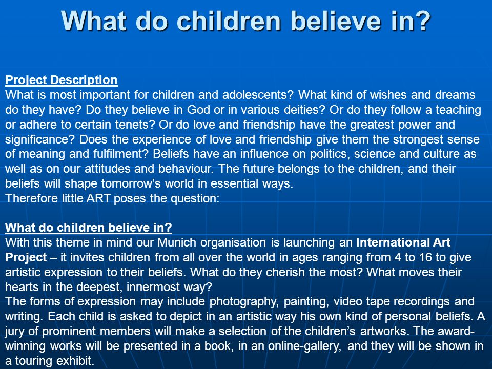 Project Description What is most important for children and adolescents.