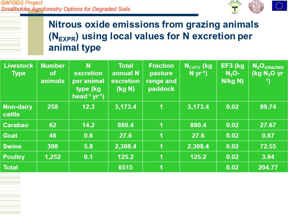 Livestock Type Number of animals N excretion per animal type (kg head -1 yr -1 ) Total annual N excretion (kg N) Fraction pasture range and paddock N EXPR (kg N yr -1 ) EF3 (kg N 2 O- N/kg N) N 2 O GRAZING (kg N 2 O yr - 1 ) Non-dairy cattle 25812.33,173.41 0.0299.74 Carabao6214.2880.41 0.0227.67 Goat460.627.61 0.020.87 Swine3985.82,308.41 0.0272.55 Poultry1,2520.1125.21 0.023.94 Total651510.02204.77 Nitrous oxide emissions from grazing animals (N EXPR ) using local values for N excretion per animal type