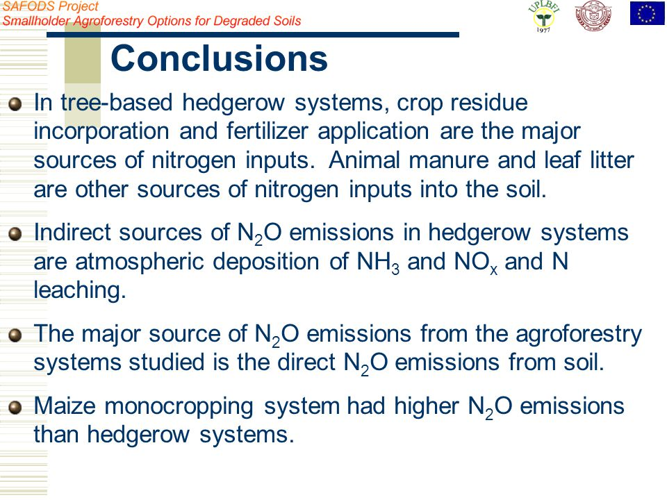 In tree-based hedgerow systems, crop residue incorporation and fertilizer application are the major sources of nitrogen inputs.