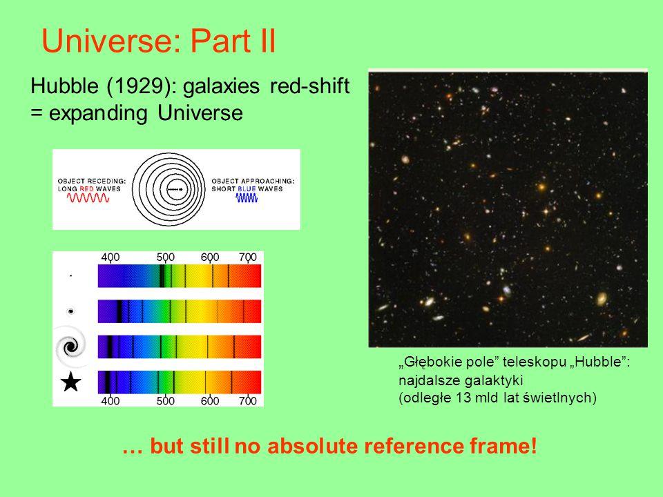"Hubble (1929): galaxies red-shift = expanding Universe "" Głębokie pole teleskopu ""Hubble : najdalsze galaktyki (odległe 13 mld lat świetlnych) … but still no absolute reference frame."