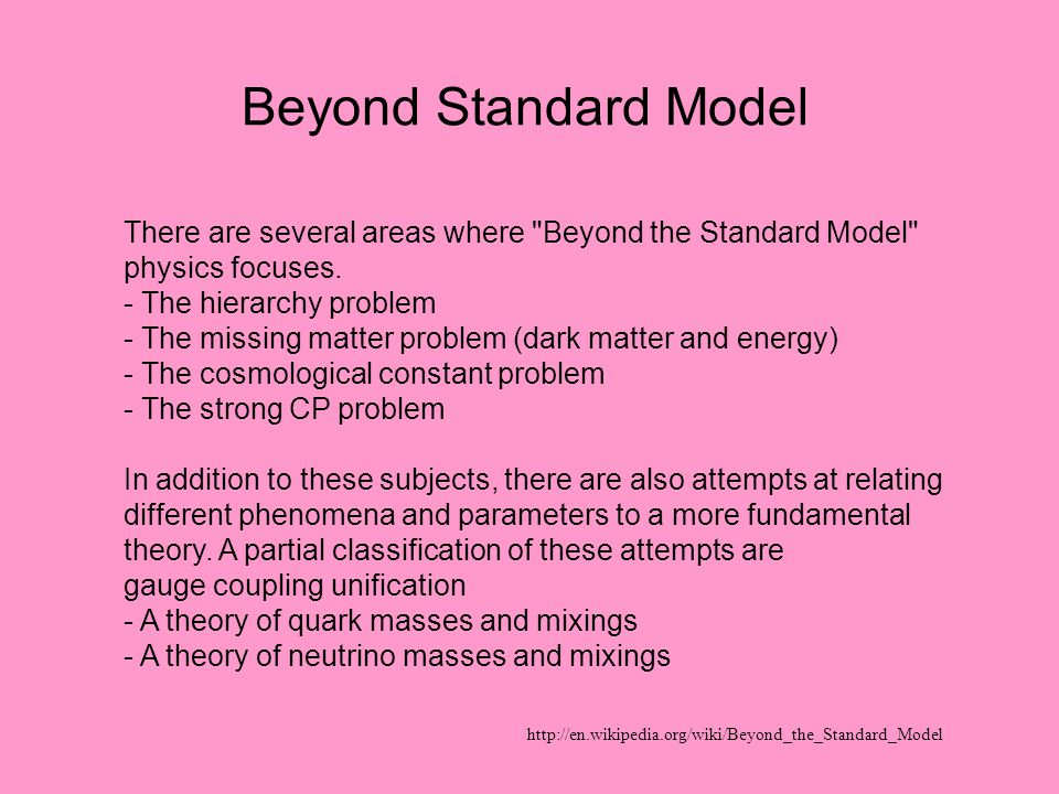 Beyond Standard Model There are several areas where