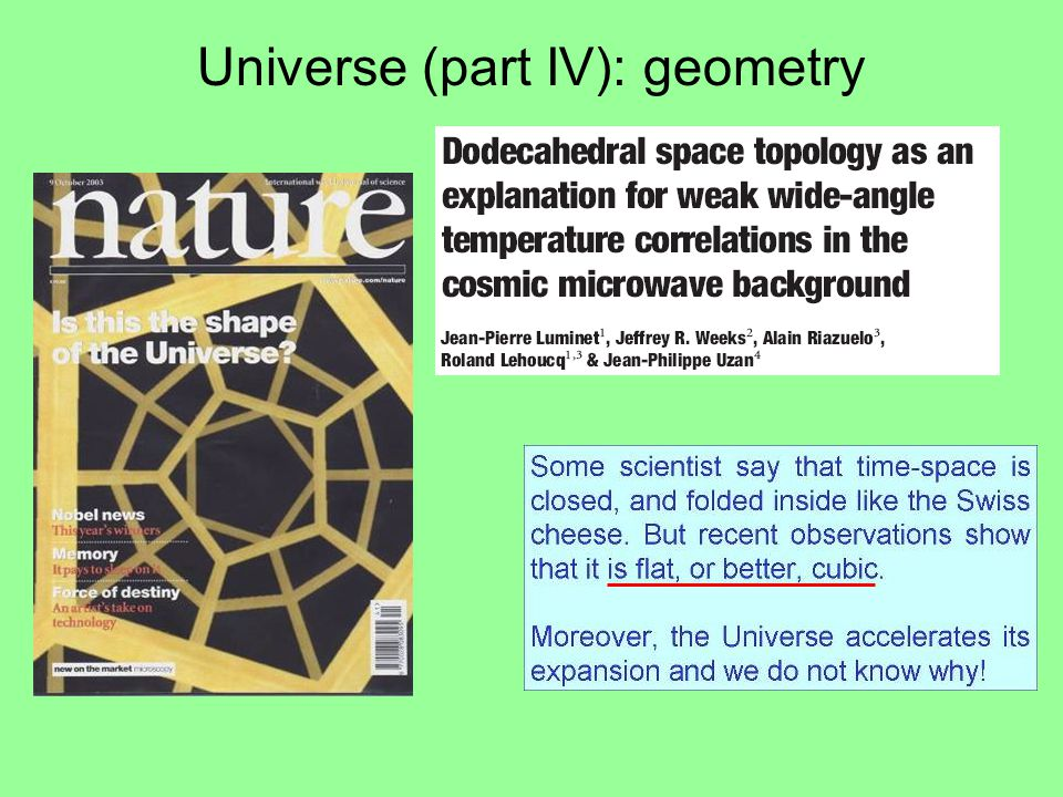 Universe (part IV): geometry