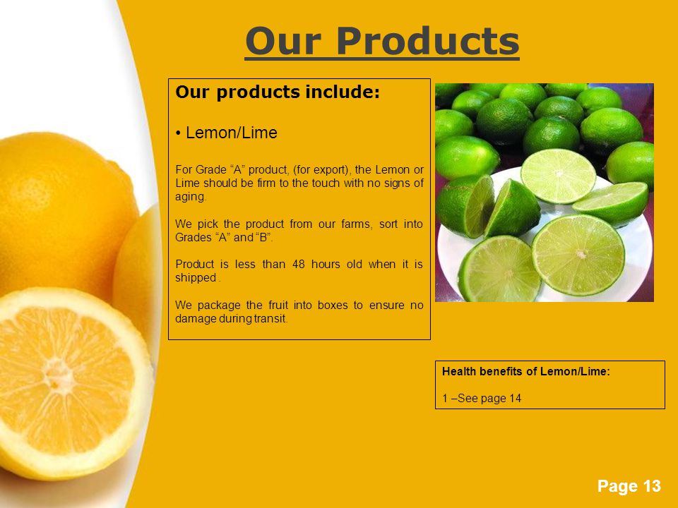 "Page 13 Our Products Our products include: Lemon/Lime For Grade ""A"" product, (for export), the Lemon or Lime should be firm to the touch with no signs"