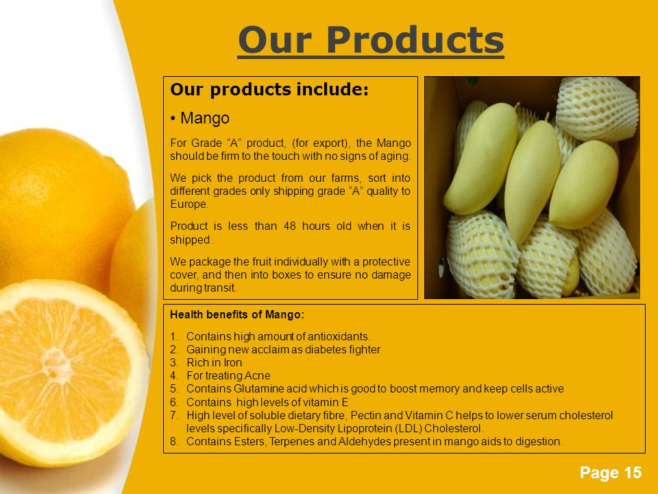 Page 15 Our Products Our products include: Mango For Grade A product, (for export), the Mango should be firm to the touch with no signs of aging.