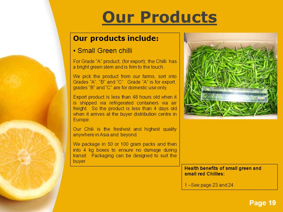 Page 19 Our Products Our products include: Small Green chilli For Grade A product, (for export), the Chilli has a bright green stem and is firm to the touch.