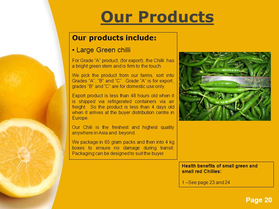 Page 20 Our Products Our products include: Large Green chilli For Grade A product, (for export), the Chilli has a bright green stem and is firm to the touch.