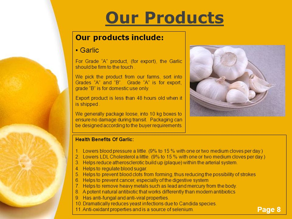 "Page 8 Our Products Our products include: Garlic For Grade ""A"" product, (for export), the Garlic should be firm to the touch. We pick the product from"
