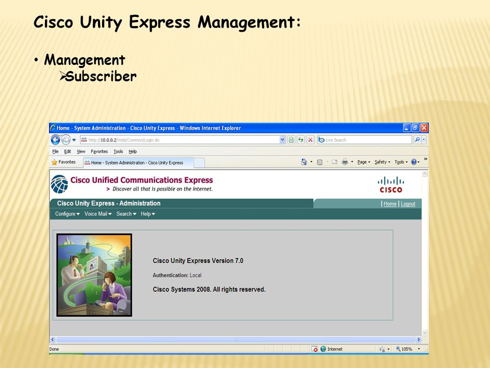 Cisco Unity Express Management: Management  Subscriber