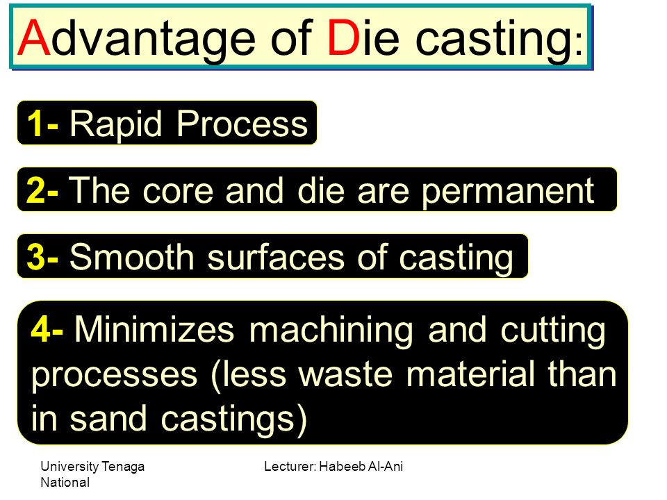 University Tenaga National Lecturer: Habeeb Al-Ani Advantage of Die casting : 1- Rapid Process 2- The core and die are permanent 3- Smooth surfaces of casting 4- Minimizes machining and cutting processes (less waste material than in sand castings)