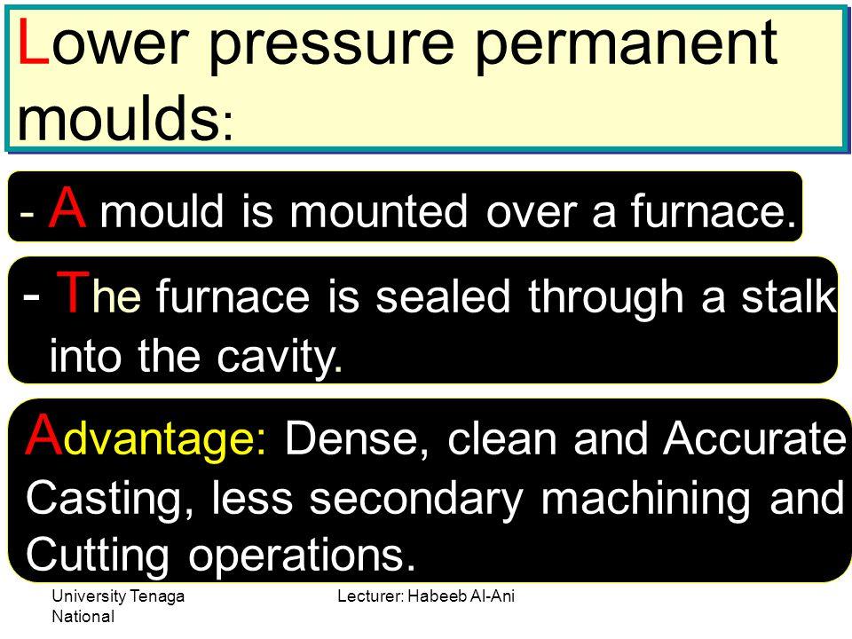 University Tenaga National Lecturer: Habeeb Al-Ani Lower pressure permanent moulds : Lower pressure permanent moulds : - A mould is mounted over a fur