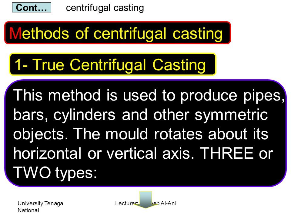 University Tenaga National Lecturer: Habeeb Al-Ani Methods of centrifugal casting This method is used to produce pipes, bars, cylinders and other symmetric objects.