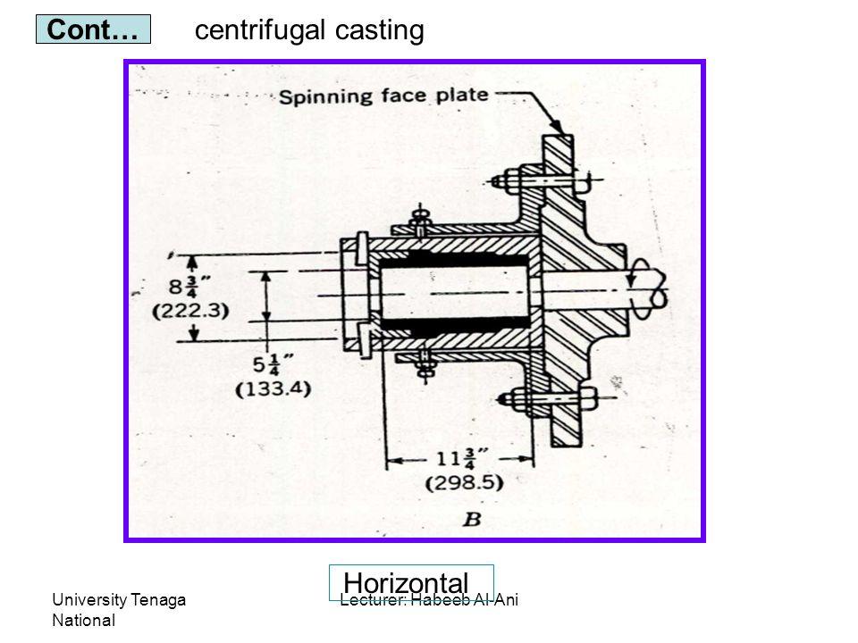 University Tenaga National Lecturer: Habeeb Al-Ani centrifugal casting Cont… Horizontal